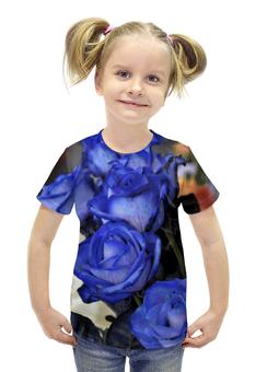 """Футболка с полной запечаткой для девочек """"Синие розы"""" - цветы, розы, синие, голубые"""