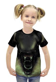 """Футболка с полной запечаткой для девочек """"Чужой (Alien)"""" - alien, чужой"""