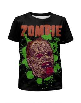 """Футболка с полной запечаткой для девочек """"Зомби арт"""" - skull, череп, арт, zombie, зомби"""
