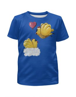 """Футболка с полной запечаткой для девочек """"На крыльях любви"""" - майка с рисунком, майка для девочки, петушок и курочка, на крыльях любви, парочка прикольных цыплят"""