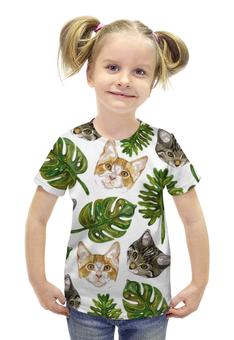 """Футболка с полной запечаткой для девочек """"Психоделических принт с кошками"""" - арт, животные, листья, кошки, котята"""