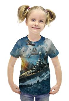 """Футболка с полной запечаткой для девочек """"World of Warships"""" - игры, рисунок, карабли"""
