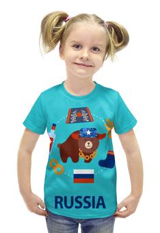 """Футболка с полной запечаткой для девочек """"Россия (Russia)"""" - медведь, россия, russia, рф, раша"""