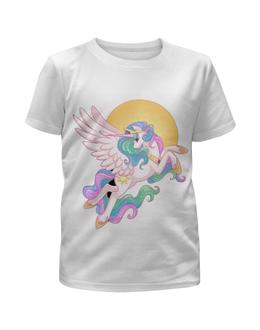 """Футболка с полной запечаткой для девочек """"Единорог"""" - пони, селестия, единорог, футболка для девочки, пони луна"""