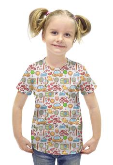 """Футболка с полной запечаткой для девочек """"Детское ассорти"""" - рисунок, текстура, детский рисунок, ассорти"""