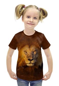 """Футболка с полной запечаткой для девочек """"Лев     """" - кошка, хищник, лев, животное, грива"""