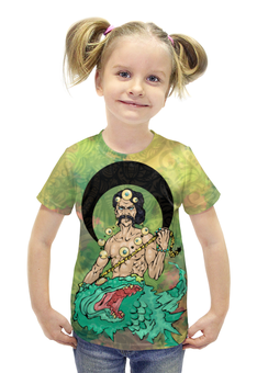 """Футболка с полной запечаткой для девочек """"Варуна"""" - арт, авторские майки, индуизм, мифология, боги"""