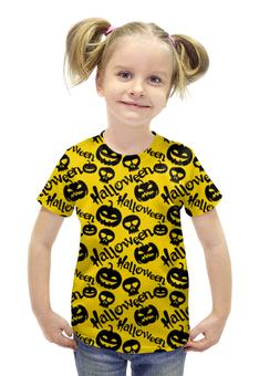 """Футболка с полной запечаткой для девочек """"Halloween"""" - skull, череп, хэллоуин, тыква, halloween party"""
