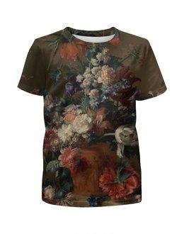 """Футболка с полной запечаткой для девочек """"Ваза с цветами (Ян ван Хёйсум)"""" - цветы, картина, живопись, натюрморт, ян ван хёйсум"""