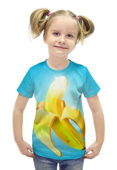 """Футболка с полной запечаткой для девочек """"банан"""" - арт, еда, фрукт, блеск, грани"""