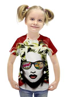 """Футболка с полной запечаткой для девочек """"Мадонна"""" - арт, поп арт, pop art, madonna"""