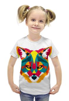 """Футболка с полной запечаткой для девочек """"FOX   """" - fox, лиса, яркий принт, полигоны"""