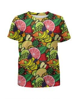 """Футболка с полной запечаткой для девочек """"Фруктовая"""" - лето, фрукты, fruits"""
