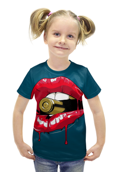 """Футболка с полной запечаткой для девочек """"Пуля во рту"""" - губы, рот, зубы, пуля, bullet"""