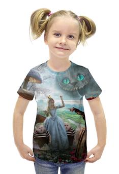 """Футболка с полной запечаткой для девочек """"Алиса в стране чудес"""" - принцесса, волшебство, приключения"""