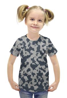 """Футболка с полной запечаткой для девочек """"Сине-Серый Камуфляж"""" - армия, камуфляж, camouflage, военный, сине серый камуфляж"""