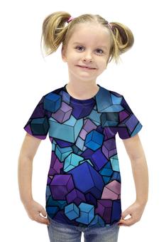 """Футболка с полной запечаткой для девочек """"КУБИКИ!!!"""" - необычно, краски, абстракция, кубики, измерение"""
