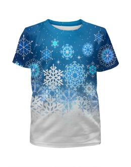 """Футболка с полной запечаткой для девочек """"Узор зимний"""" - снег, снежинки, новый год, узор, зима"""