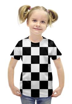 """Футболка с полной запечаткой для девочек """"Чёрно-белая клетка"""" - стиль, клетка, минимализм, чёрное и белое"""