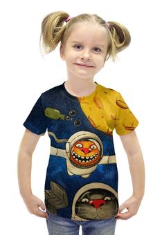 """Футболка с полной запечаткой для девочек """"Астрокоты"""" - космос, коты, космонавты, ложкин, космокоты"""