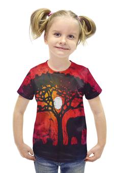 """Футболка с полной запечаткой для девочек """"Слон у дерева"""" - слон, закат, дерево, яркая"""
