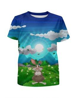 """Футболка с полной запечаткой для девочек """"Зайка на лугу"""" - животные, заяц, природа, луг, зайка"""