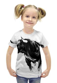 """Футболка с полной запечаткой для девочек """"Чёрный бык"""" - животные, бык, bull"""