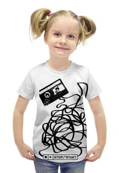 """Футболка с полной запечаткой для девочек """"Касета"""" - музыка, чб, касета"""