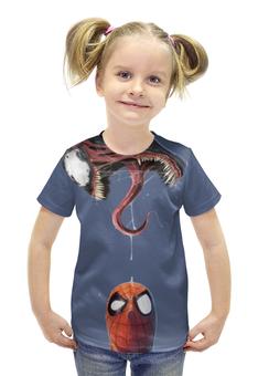 """Футболка с полной запечаткой для девочек """"Человек-паук и Веном"""" - venom, spider-man, человек-паук, веном"""