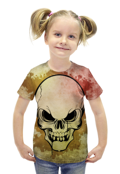 """Футболка с полной запечаткой для девочек """"Череп"""" - череп, хэллоуин"""