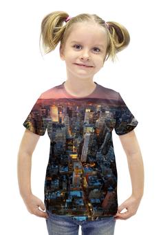 """Футболка с полной запечаткой для девочек """"Нью-Йорк"""" - new york, ночной город, нью йорк"""