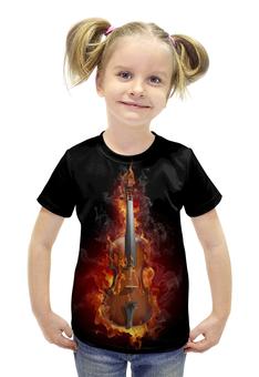 """Футболка с полной запечаткой для девочек """"Скрипка в огне"""" - арт, огонь, дизайн, скрипка, пламя"""