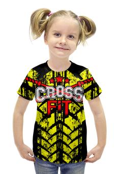 """Футболка с полной запечаткой для девочек """"CROSSFIT """" - gym, фитнесс, спортзал, crossfit, кроссфит"""