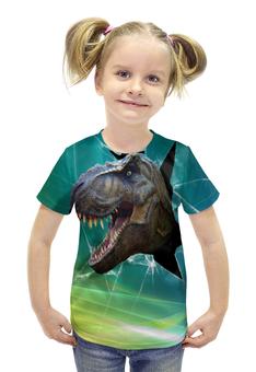 """Футболка с полной запечаткой для девочек """"Динозавр"""" - рисунок, зубы, динозавр"""