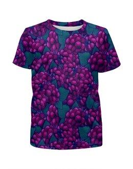 """Футболка с полной запечаткой для девочек """"виноград"""" - ягоды, природа, фиолетовый, плоды, листья"""