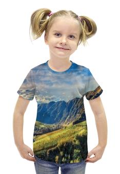 """Футболка с полной запечаткой для девочек """"Горный хребет"""" - лето, природа, горы, трава, долина"""