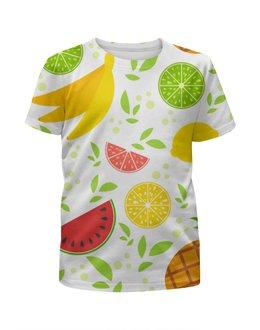 """Футболка с полной запечаткой для девочек """"Яркие аппетитные тропические фрукты"""" - банан, детские, яркие, еда, фрукты"""