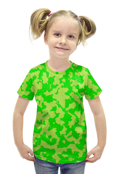 """Футболка с полной запечаткой для девочек """"Ярко-Зелёный Камуфляж"""" - армия, камуфляж, camouflage, военный, ярко зелёный камуфляж"""