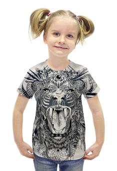 """Футболка с полной запечаткой для девочек """"Тигр. Маска"""" - графика, маска, тигр"""