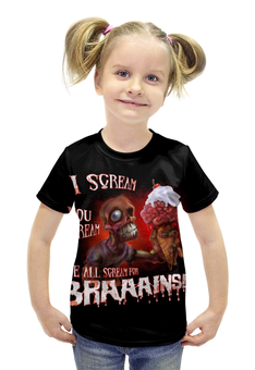 "Футболка с полной запечаткой для девочек ""Zombie Art"" - zombie, зомби, мозги, мороженое, зомби арт"