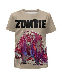 """Футболка с полной запечаткой для девочек """"Zombie Cat"""" - кот, животные, zombie, зомби, cat"""