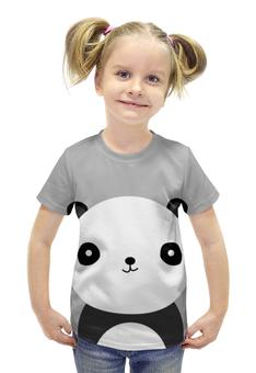 """Футболка с полной запечаткой для девочек """"Панда"""" - медведь, панда"""