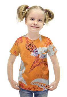 """Футболка с полной запечаткой для девочек """"Абстрактные насекомые"""" - арт, бабочка, крылья, насекомое, апельсин"""