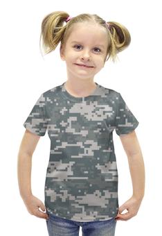 """Футболка с полной запечаткой для девочек """"Камуфляж (Цифра)"""" - армия, камуфляж, camo, цифра, маскировка"""