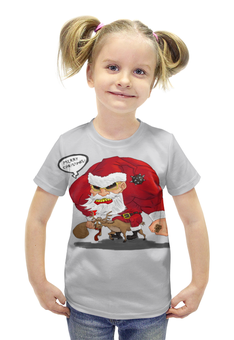 """Футболка с полной запечаткой для девочек """"Merry Christmas - рокер Санта"""" - подарок, рождество, санта, хардкор, merry christmas"""