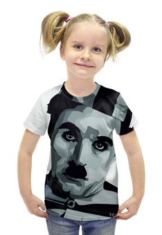 """Футболка с полной запечаткой для девочек """"Чарли Чаплин"""" - артист, charlie chaplin, немое кино, бродяга, великий диктатор"""