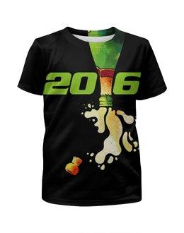 """Футболка с полной запечаткой для девочек """"Новый год 2016!"""" - праздник, новый год, 2016, события, денис гесс"""