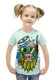 """Футболка с полной запечаткой для девочек """"Skull Art"""" - skull, череп, море, sea, капитан"""