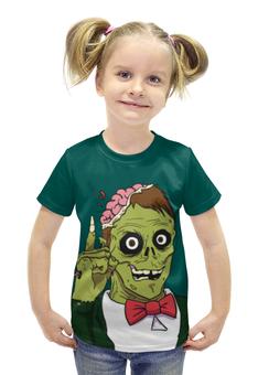 """Футболка с полной запечаткой для девочек """"Зомби хеллоуин"""" - череп, хэллоуин, зомби, монстр"""