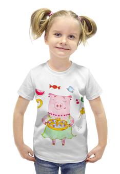 """Футболка с полной запечаткой для девочек """"Сладкой жизни"""" - радость, сладости, свинка, хрюшка, пироги"""